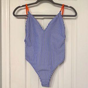 801652c354 Zara Swim | Striped Side Tie One Piece Bathing Suit | Poshmark
